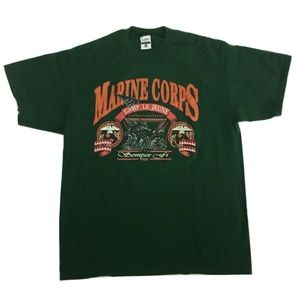MARINE CORPS Camp Le Jeune T-shirt Vtg Green XL